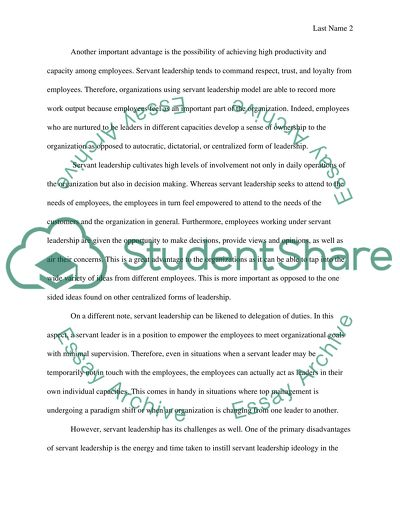 Advantages And Disadvantages Of Servant Leadership Essay
