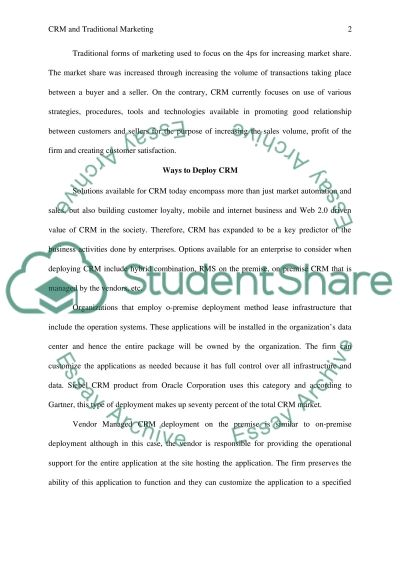 Customer Relationship Management Essay example