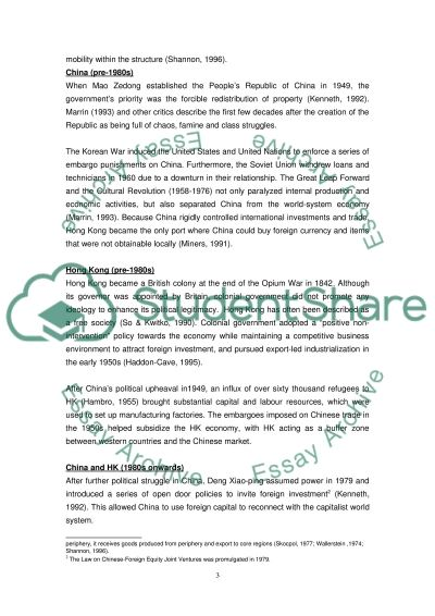 World-system on the hierarchy of China and Hong Kong essay example