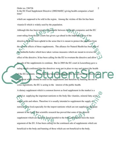 EU Food Supplement Directive Essay Example   Topics and Well