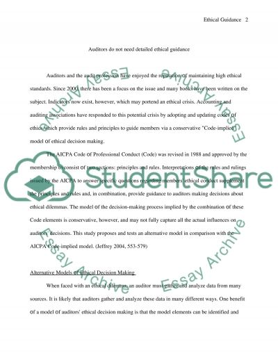 Ethical Guidance essay example