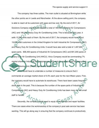 The operations of a spares supply and service support essay example