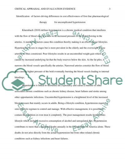 Critical appraisal and evaluation evidence essay example