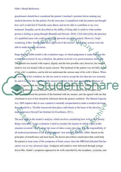 Gibbs Model of Reflection essay example