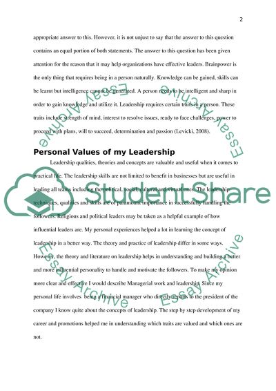 Extract Of Sample Personal Philosophy Leadership
