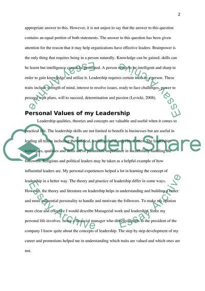 Personal Philosophy of Leadership