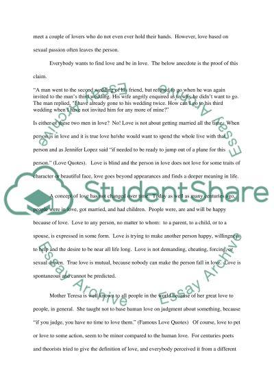 Defining Love essay example