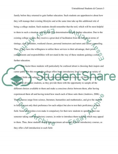 Untraditional students and careers Essay example