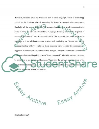 Any thing realated to linguistics and teaching English as a foreign language essay example