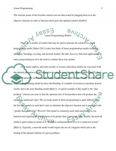 Linear Programming essay essay example