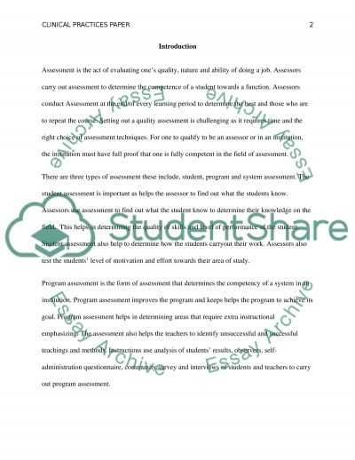 Current Assessment Practices for Evaluating Clinical Students essay example
