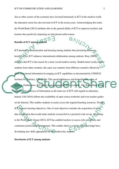 How has information communications technology (ICT) changed the way students communicate & learn