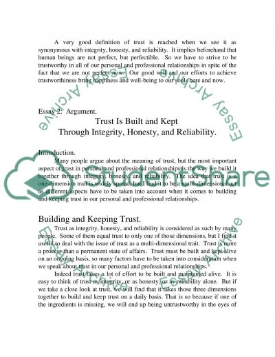 Trust Is Integrity, Honesty, and Reliability essay example