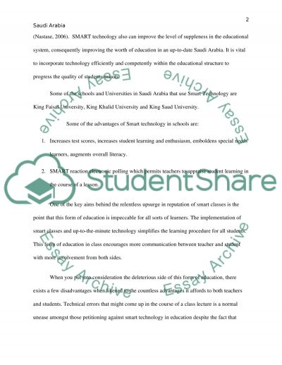 The Effect of Using Smart Technology in the Education System in Saudi Arabia essay example