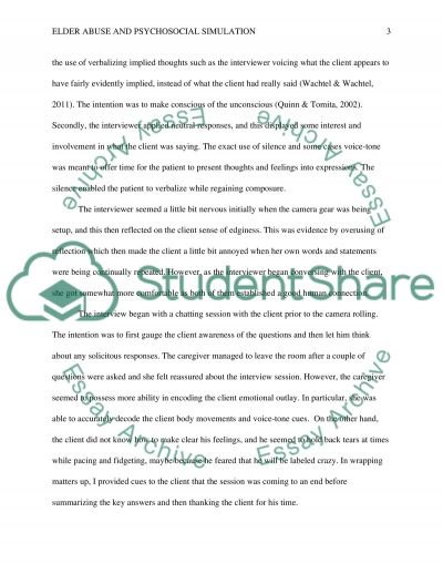 Elder Abuse and Psychosocial Simulation essay example