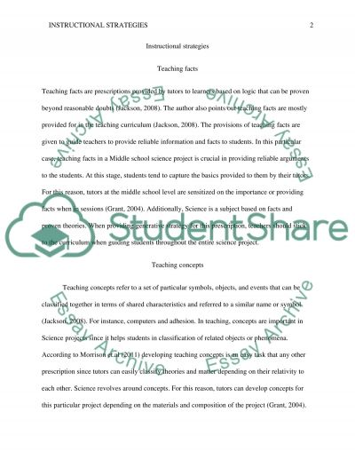 Instructional Strategies Concept Paper 2 essay example
