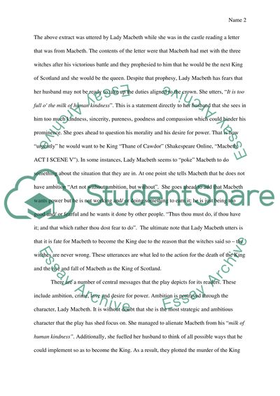 Example Of A Essay Paper Macbeth George Washington Essay Paper also How To Write An Essay Thesis Macbeth Essay Example  Topics And Well Written Essays   Words   Learn English Essay Writing