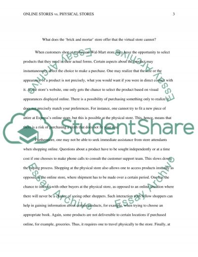 Online Store Vs. Physical Store essay example