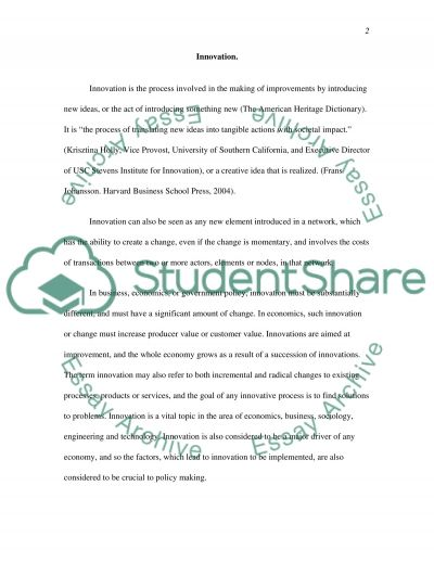 Innovation and Partnership essay example