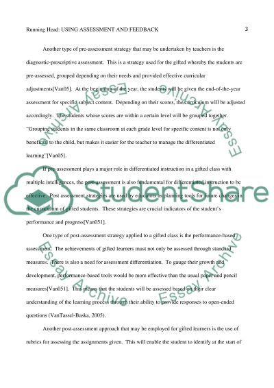 Using Assessment and Feedback essay example