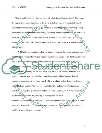 Undergraduate Essay on Teaching and Education