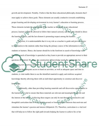 Personal Statement on Philosophy of Education essay example