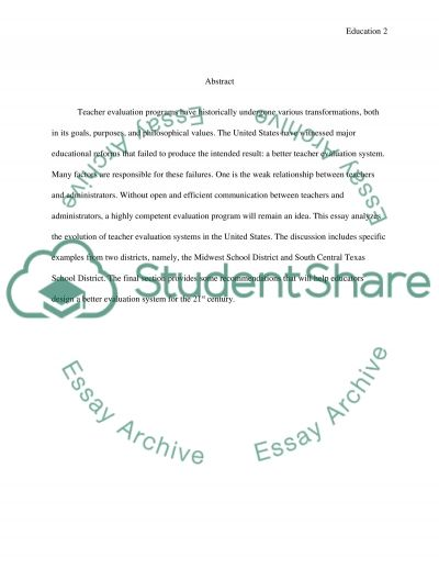 The Evolution of Teacher Evaluation in the US: History, Trends, Effectiveness and Future Challenges essay example
