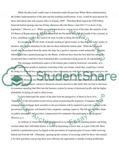 Federal Bailout essay example