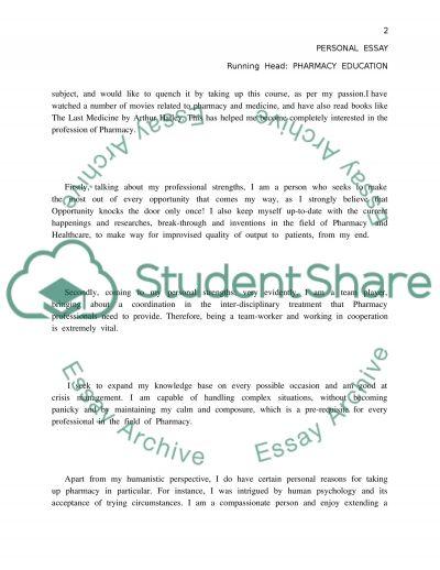 Pharmacy education: personal essay