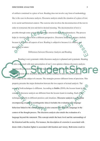 Discourse Analysis: Critical Analysis paper