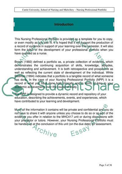 Reflective Practice in Nursing Professional Portfolio