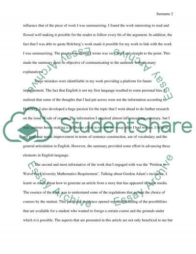 portfolio essay example