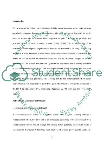 Army leadership essay