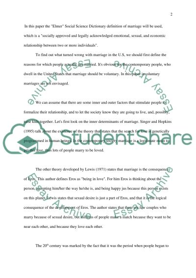 Failure of Marriage in the United States essay example