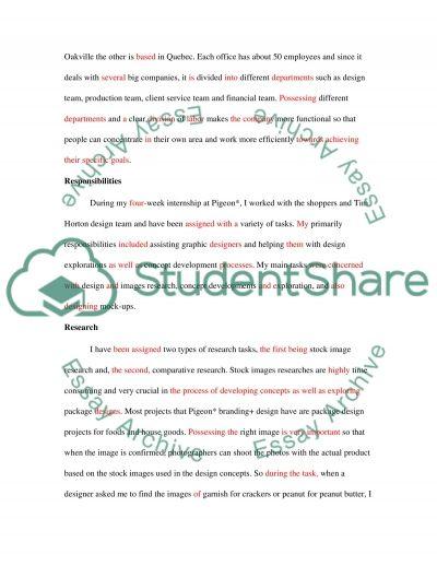 Design internship report essay example