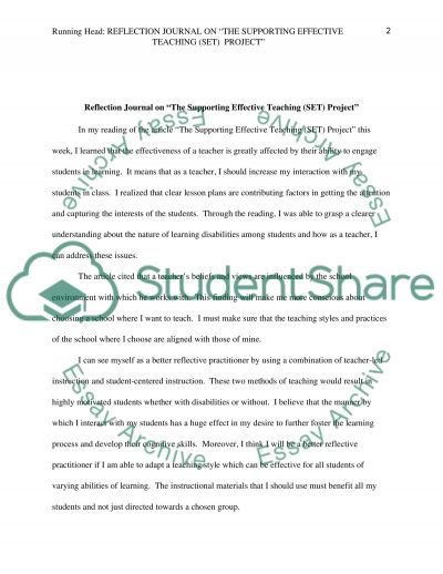 Write a reflection journal after reading the article that I will upload essay example