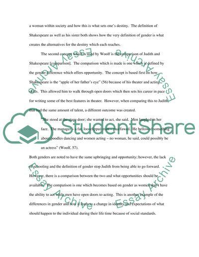 Argumental essay on Virginia Woolf Shakespeares Sister