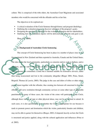 Evaluation of the Program: Circle Sentencing
