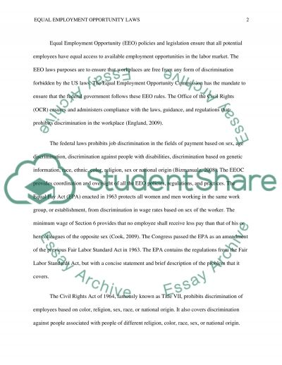 Equal Employment Opportunity Laws essay example