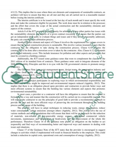 Sustainability Principles In Conditions Of Contract Nec Jct Sbc Essay