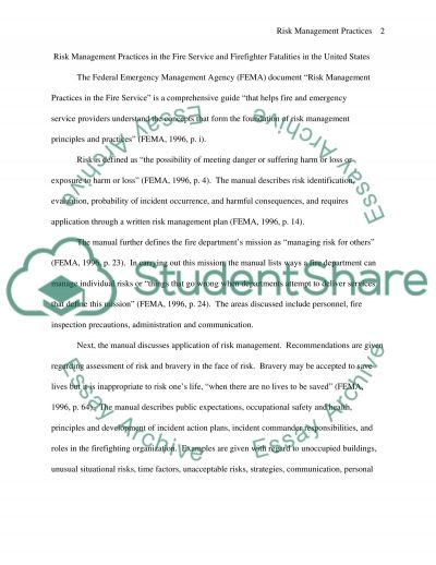 Risk management practices in the service essay example
