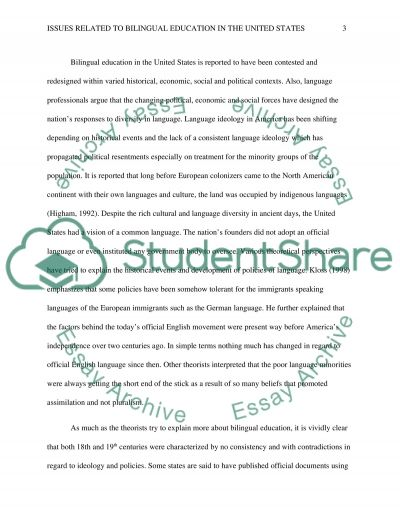 Issues Related to Bilingual Education in the United States essay example