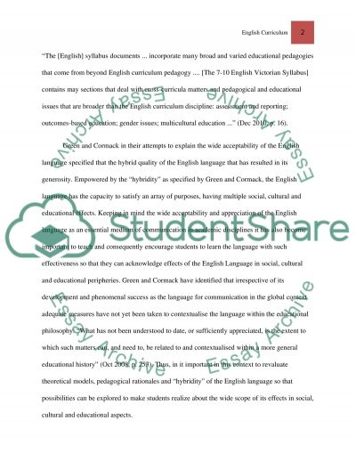 English Curriculumn essay example
