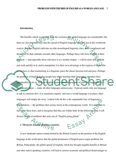 English Is A World Language Essay Example  Topics And Well Written  English Is A World Language