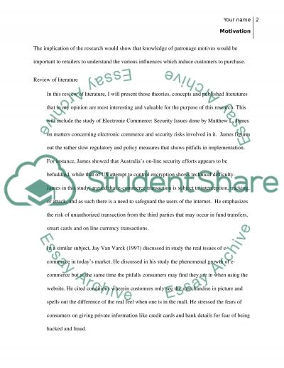What motivates or de-motivates customers to online shopping Essay example