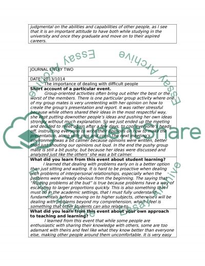 Learning journals essay example