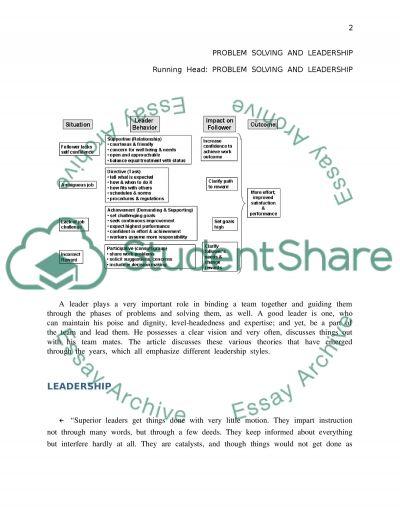 Leadership, A good leader essay example