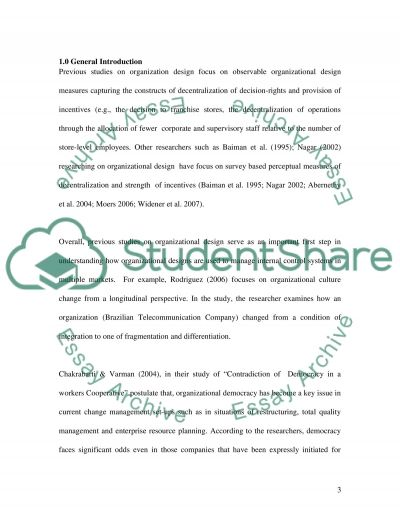 Contemporary Organisational Design essay example