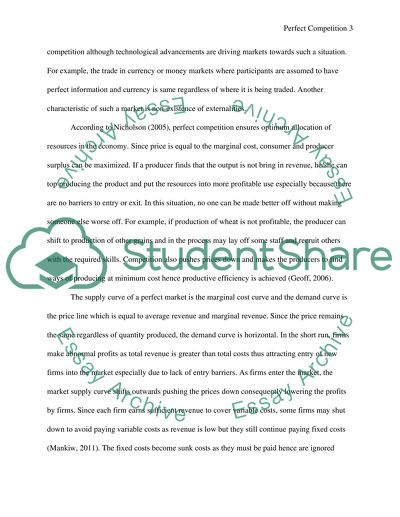 Perfect Competition Essay Example  Topics And Well Written Essays  Perfect Competition  Essay Example