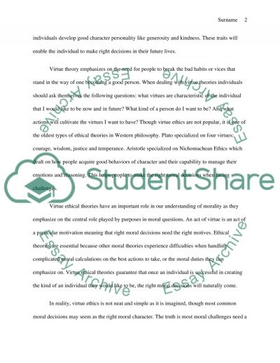 Ethical Theory Essay essay example